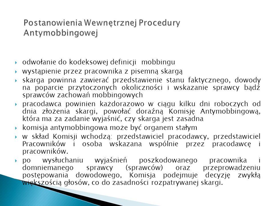 Postanowienia Wewnętrznej Procedury Antymobbingowej