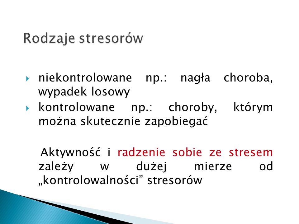 Rodzaje stresorów niekontrolowane np.: nagła choroba, wypadek losowy