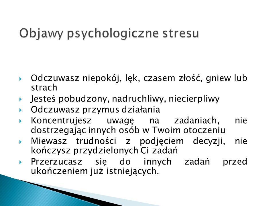 Objawy psychologiczne stresu