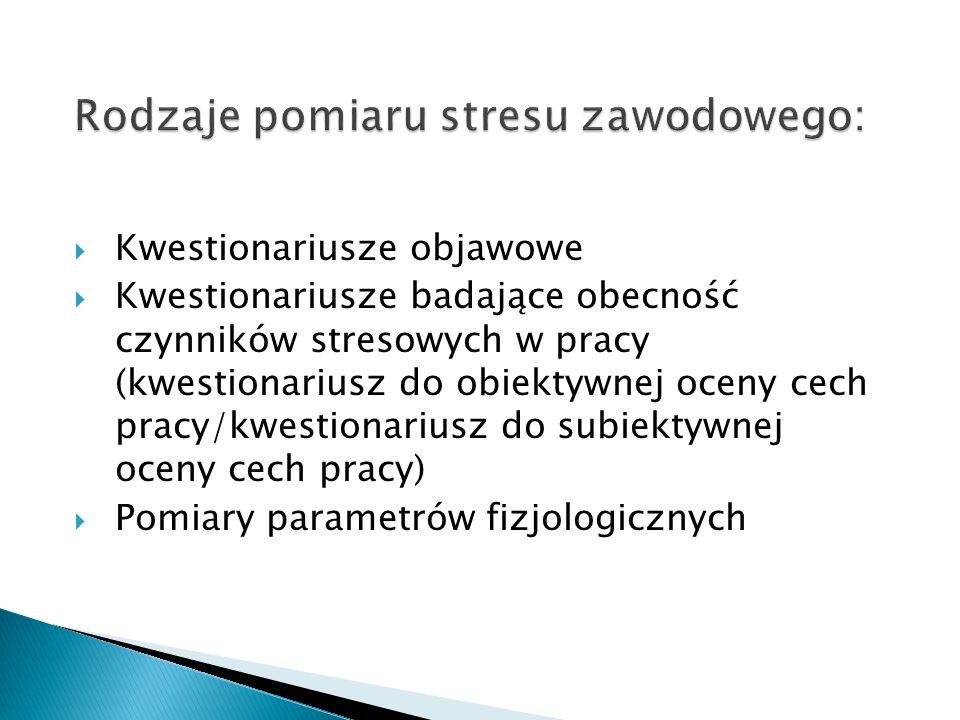 Rodzaje pomiaru stresu zawodowego: