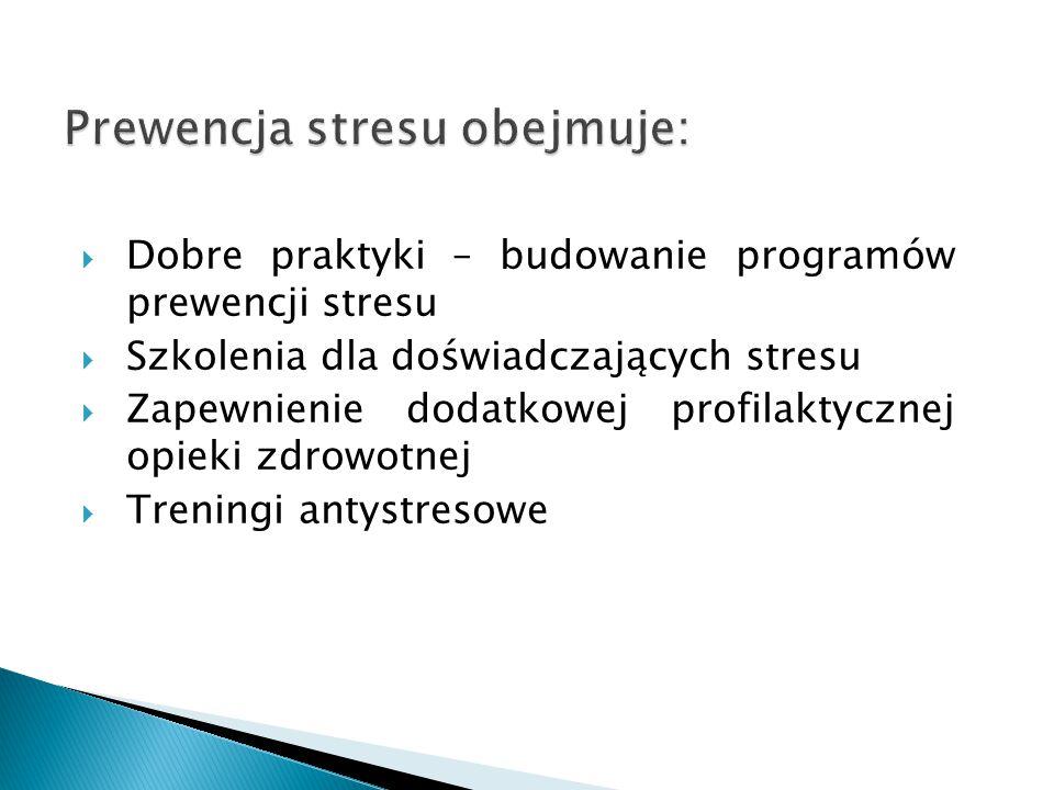 Prewencja stresu obejmuje: