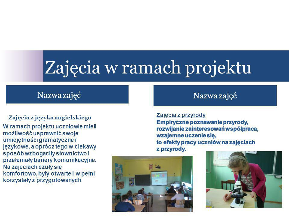 Zajęcia w ramach projektu