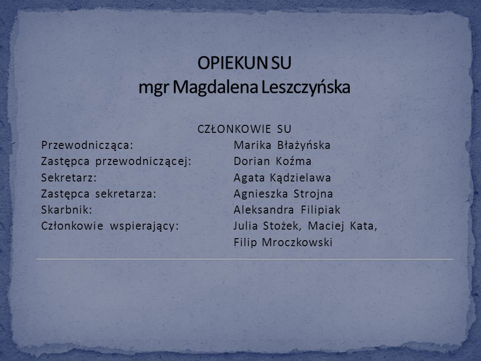 OPIEKUN SU mgr Magdalena Leszczyńska