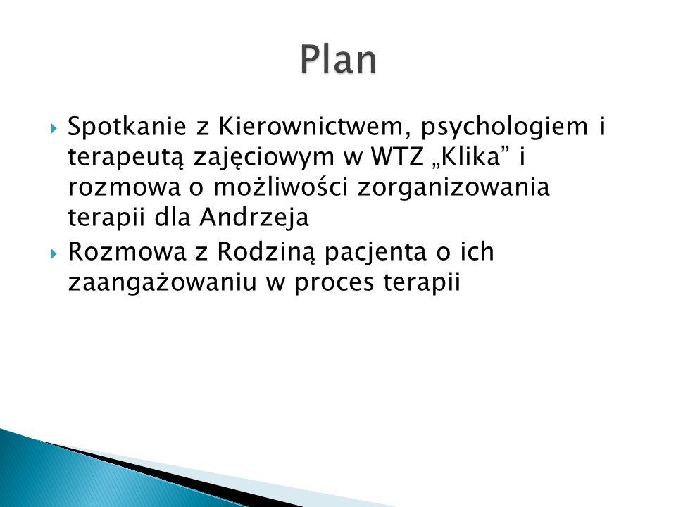 """Plan Spotkanie z Kierownictwem, psychologiem i terapeutą zajęciowym w WTZ """"Klika i rozmowa o możliwości zorganizowania terapii dla Andrzeja."""