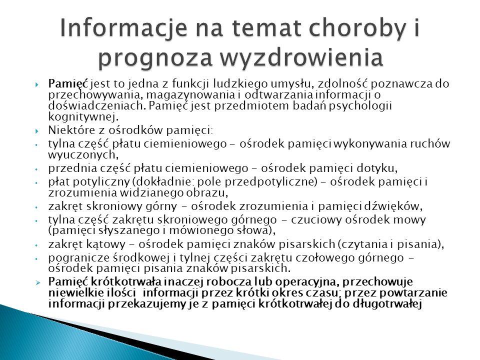 Informacje na temat choroby i prognoza wyzdrowienia