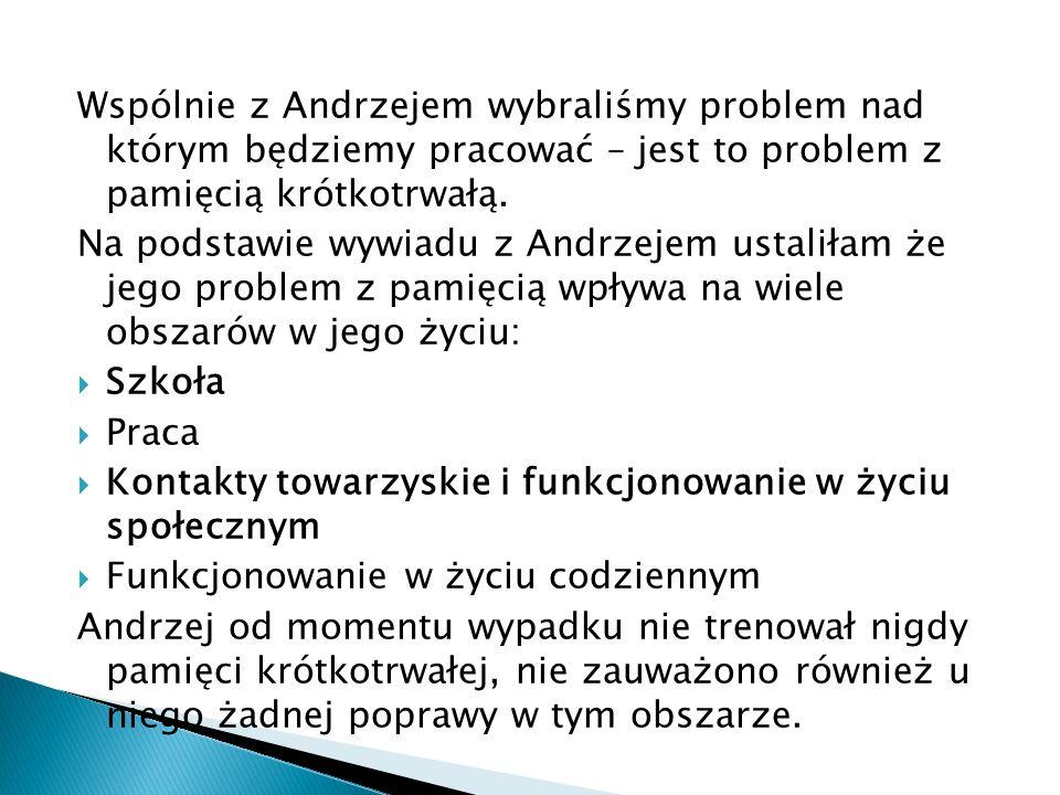 Wspólnie z Andrzejem wybraliśmy problem nad którym będziemy pracować – jest to problem z pamięcią krótkotrwałą.