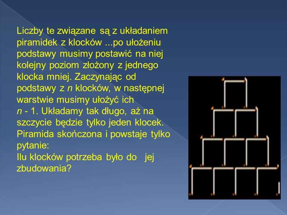 Liczby te związane są z układaniem piramidek z klocków