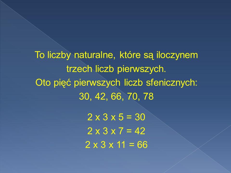 To liczby naturalne, które są iloczynem trzech liczb pierwszych