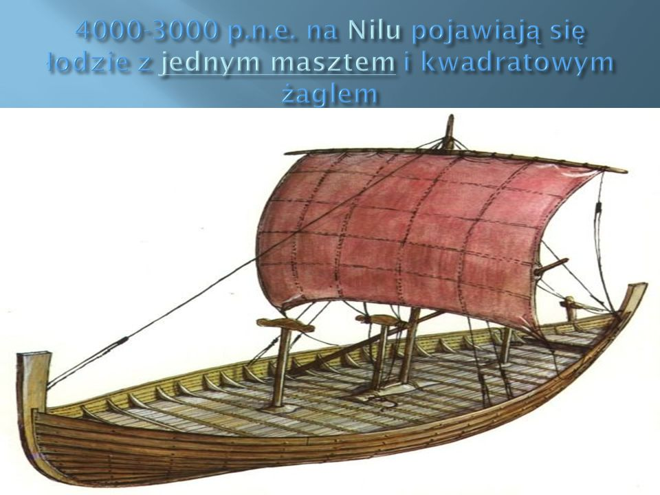 4000-3000 p.n.e. na Nilu pojawiają się łodzie z jednym masztem i kwadratowym żaglem