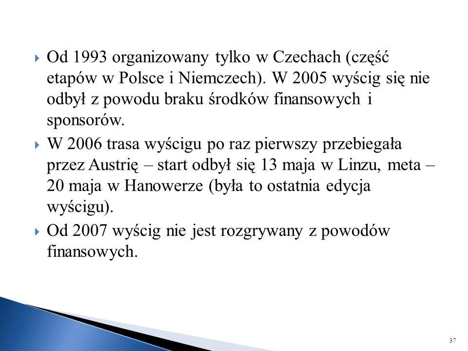 Od 1993 organizowany tylko w Czechach (część etapów w Polsce i Niemczech). W 2005 wyścig się nie odbył z powodu braku środków finansowych i sponsorów.