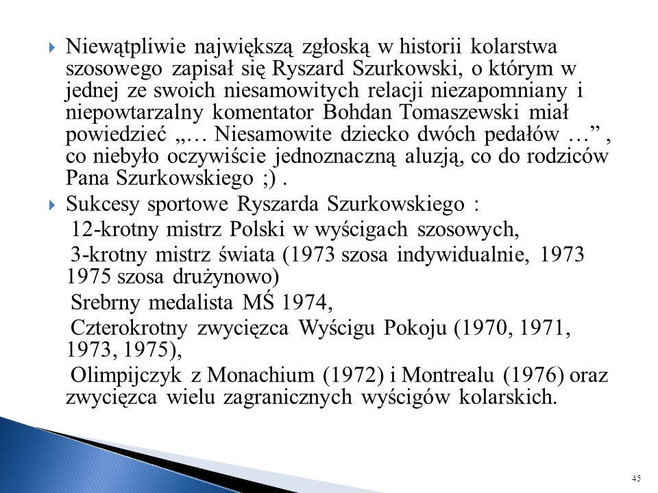 """Niewątpliwie największą zgłoską w historii kolarstwa szosowego zapisał się Ryszard Szurkowski, o którym w jednej ze swoich niesamowitych relacji niezapomniany i niepowtarzalny komentator Bohdan Tomaszewski miał powiedzieć """"… Niesamowite dziecko dwóch pedałów … , co niebyło oczywiście jednoznaczną aluzją, co do rodziców Pana Szurkowskiego ;) ."""