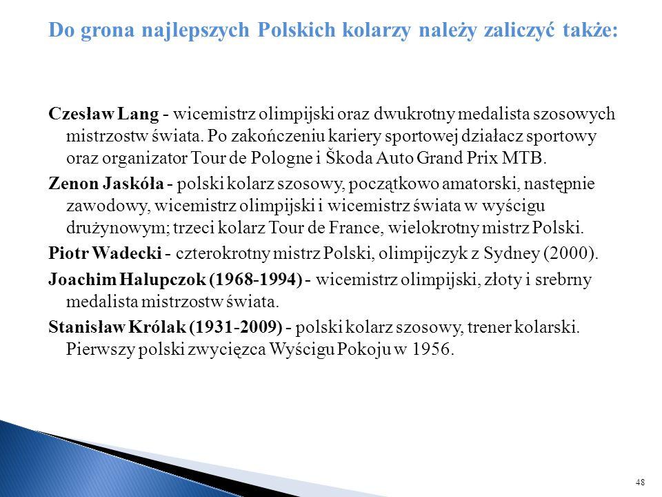 Do grona najlepszych Polskich kolarzy należy zaliczyć także: