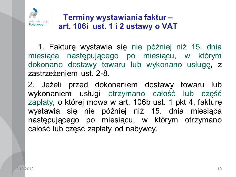 Terminy wystawiania faktur – art. 106i ust. 1 i 2 ustawy o VAT
