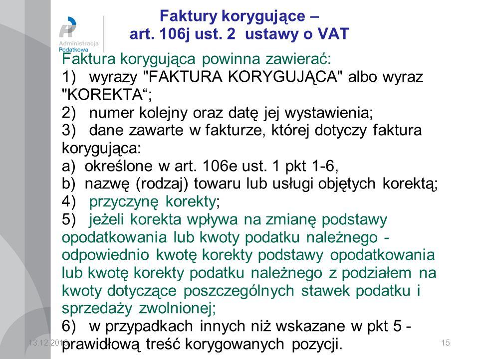 Faktury korygujące – art. 106j ust. 2 ustawy o VAT