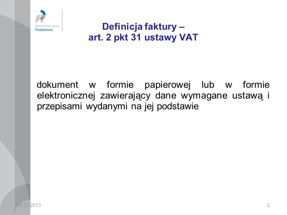 Definicja faktury – art. 2 pkt 31 ustawy VAT