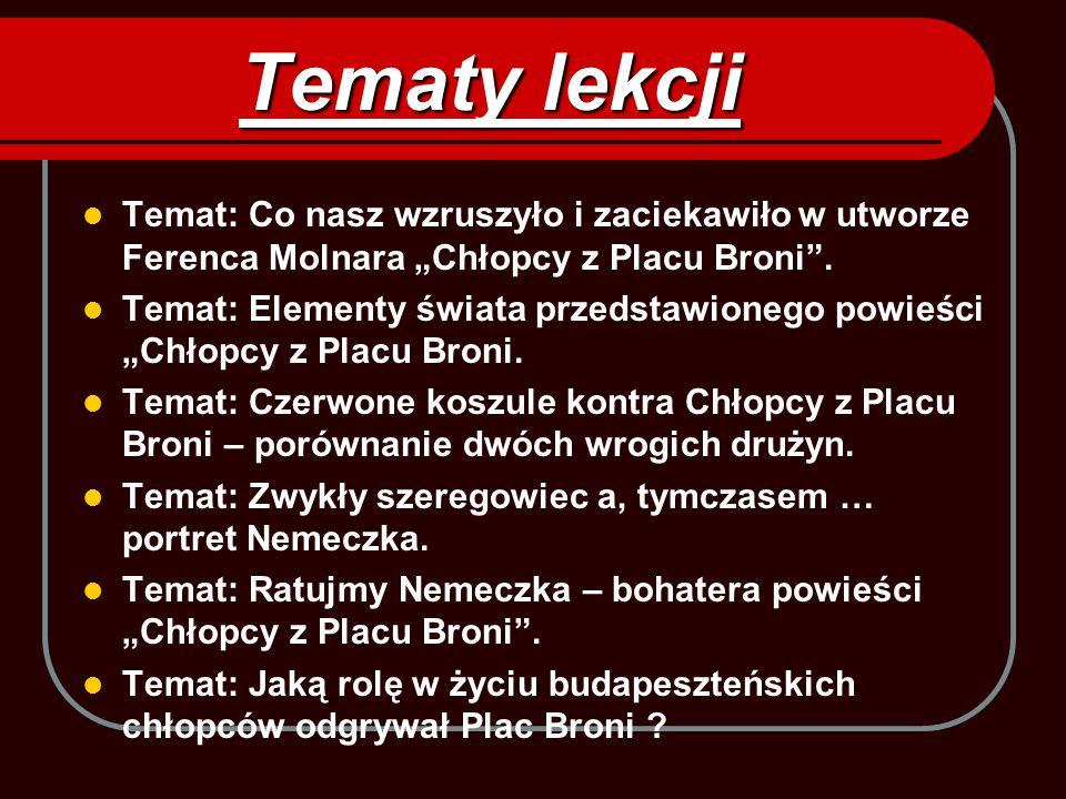 """Tematy lekcji Temat: Co nasz wzruszyło i zaciekawiło w utworze Ferenca Molnara """"Chłopcy z Placu Broni ."""