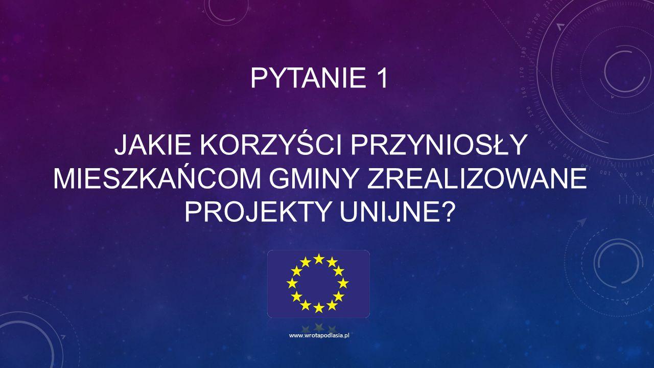 Pytanie 1 jakie korzyści przyniosły mieszkańcom gminy zrealizowane projekty unijne