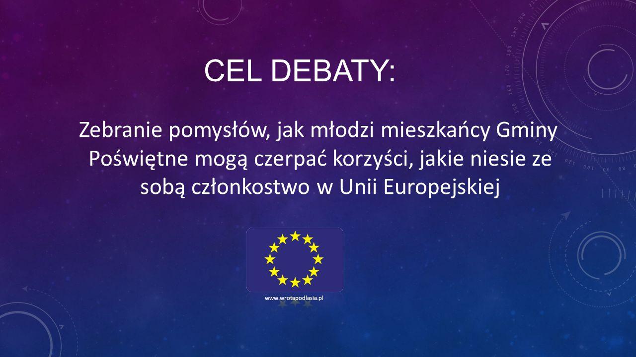 CEL DEBATY: Zebranie pomysłów, jak młodzi mieszkańcy Gminy Poświętne mogą czerpać korzyści, jakie niesie ze sobą członkostwo w Unii Europejskiej.