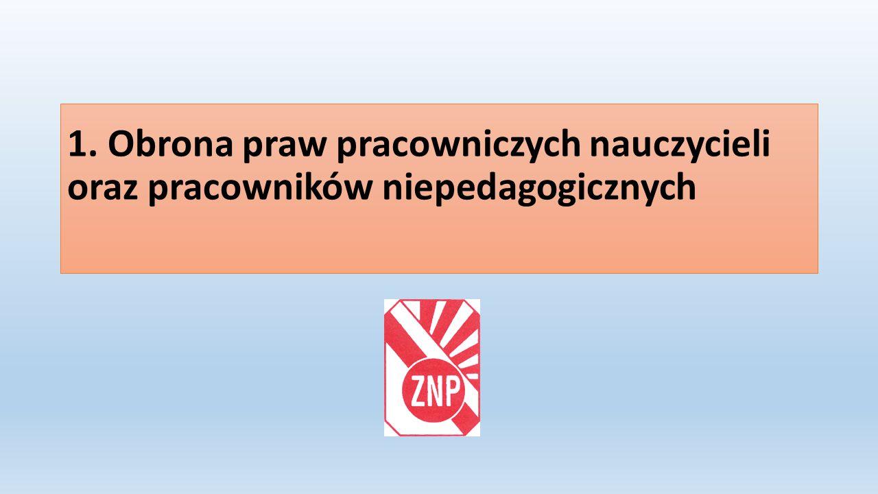 1. Obrona praw pracowniczych nauczycieli oraz pracowników niepedagogicznych
