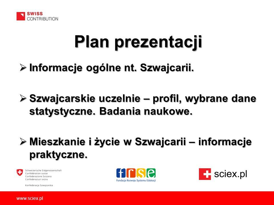 Plan prezentacji Informacje ogólne nt. Szwajcarii.