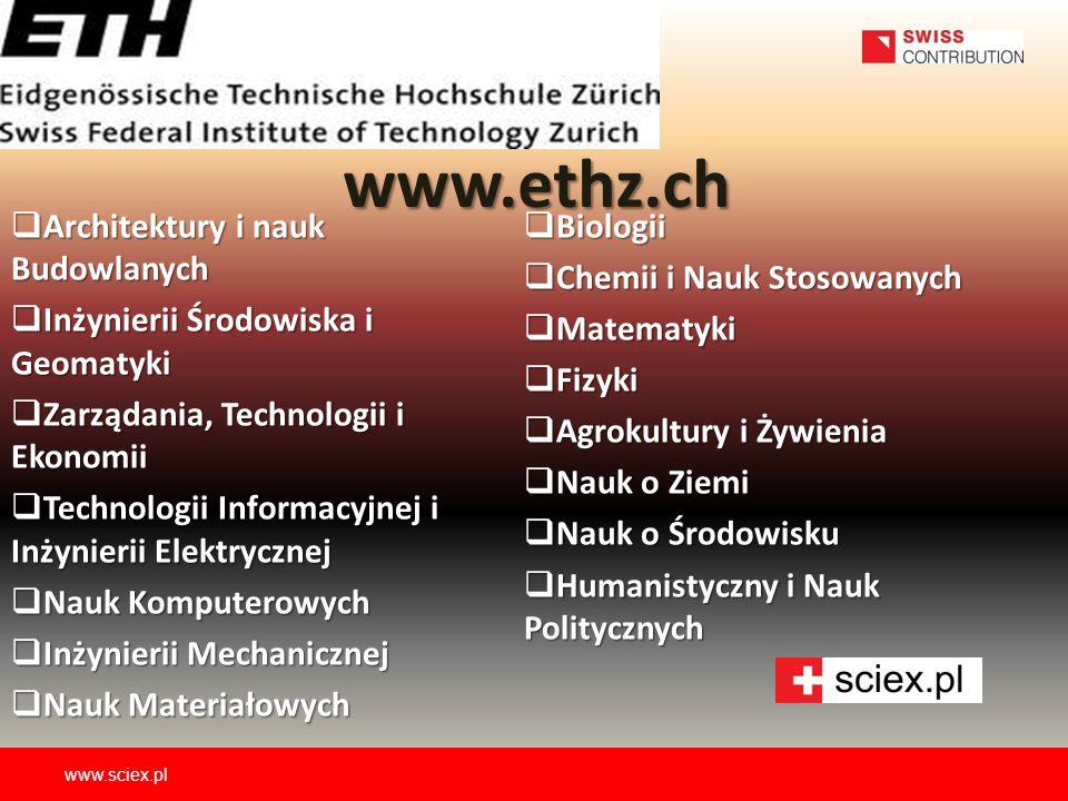www.ethz.ch Architektury i nauk Budowlanych Biologii