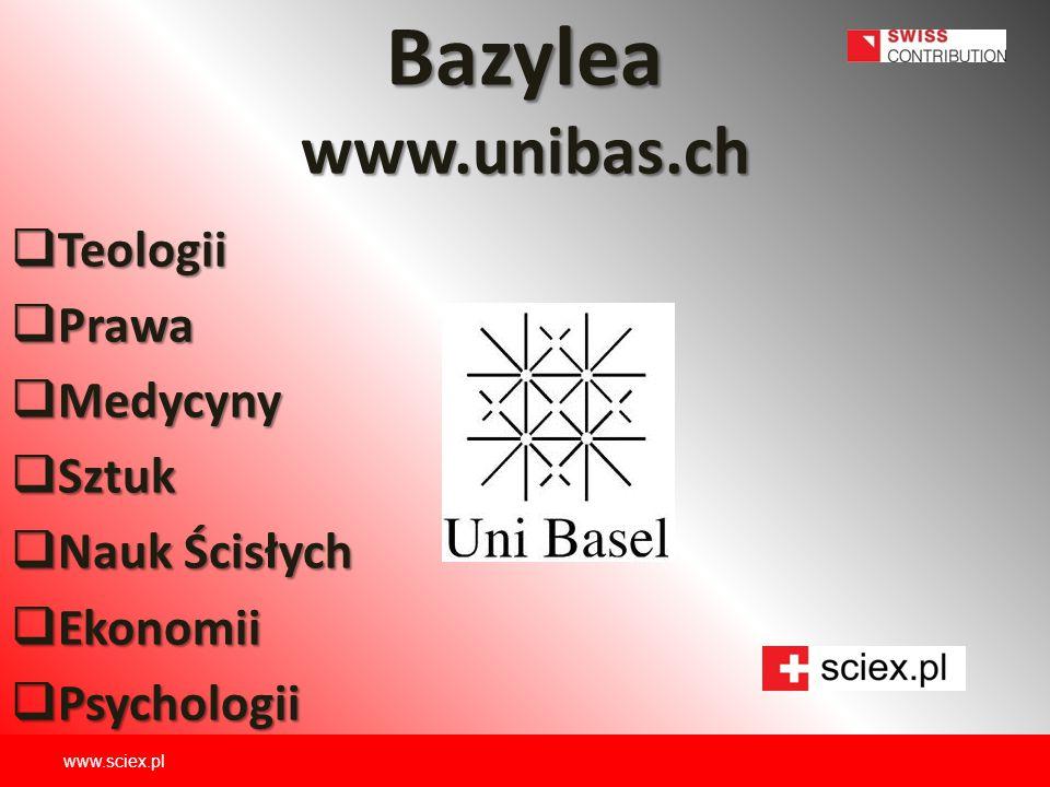 Bazylea www.unibas.ch Teologii Prawa Medycyny Sztuk Nauk Ścisłych