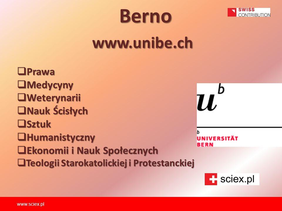 Berno www.unibe.ch Prawa Medycyny Weterynarii Nauk Ścisłych Sztuk