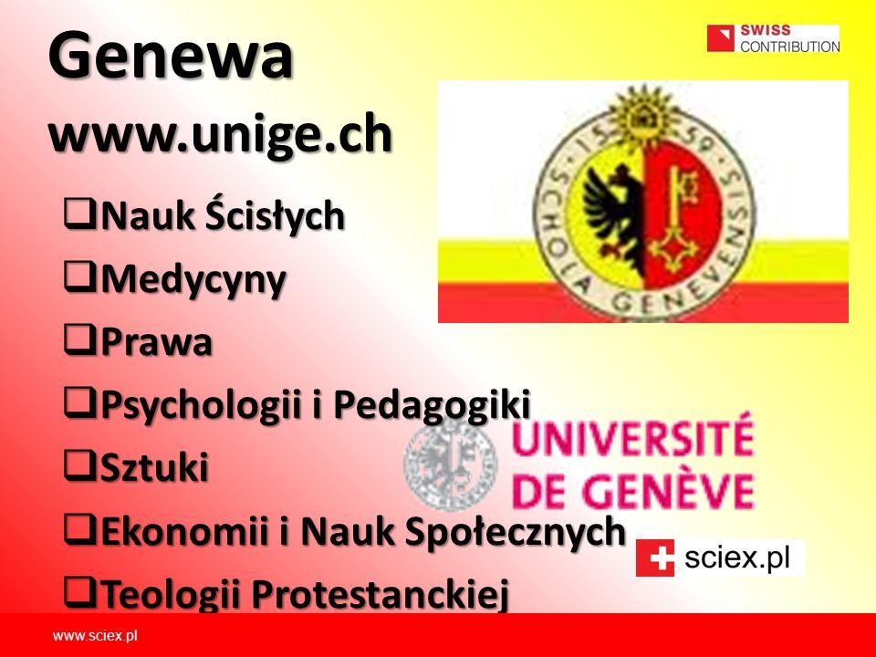 Genewa www.unige.ch Nauk Ścisłych Medycyny Prawa