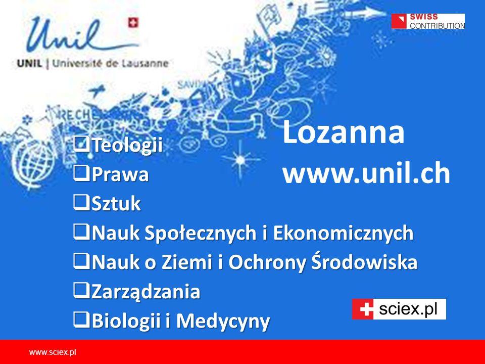 Lozanna www.unil.ch Teologii Prawa Sztuk