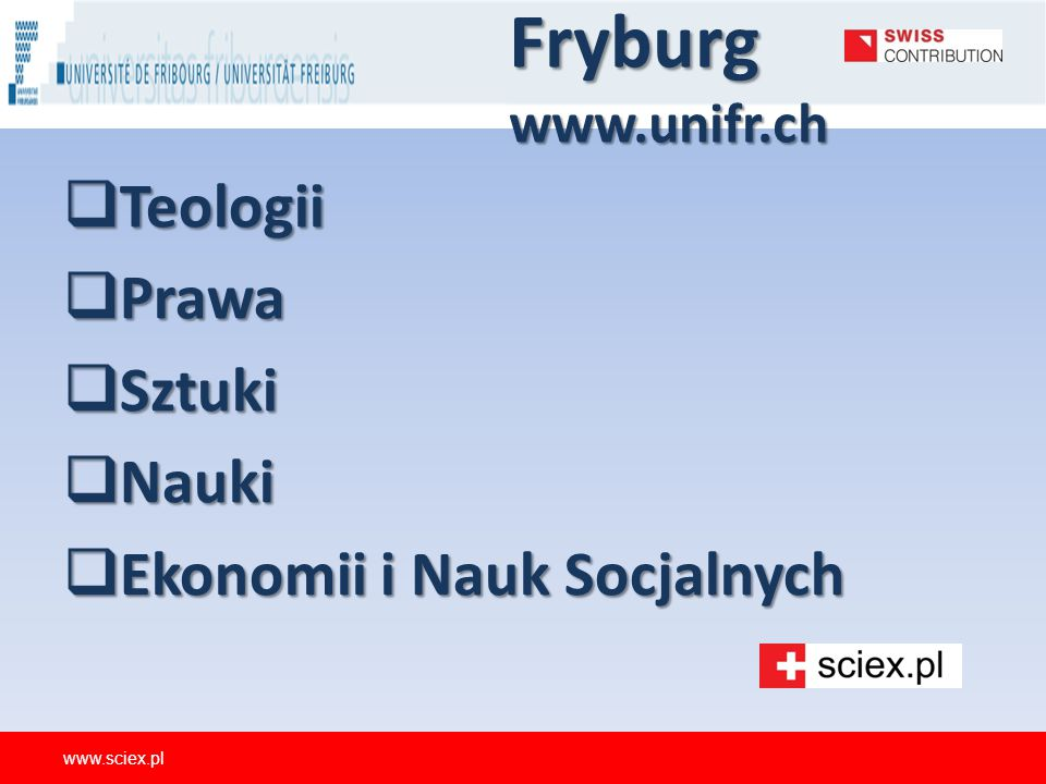 Fryburg www.unifr.ch Teologii Prawa Sztuki Nauki