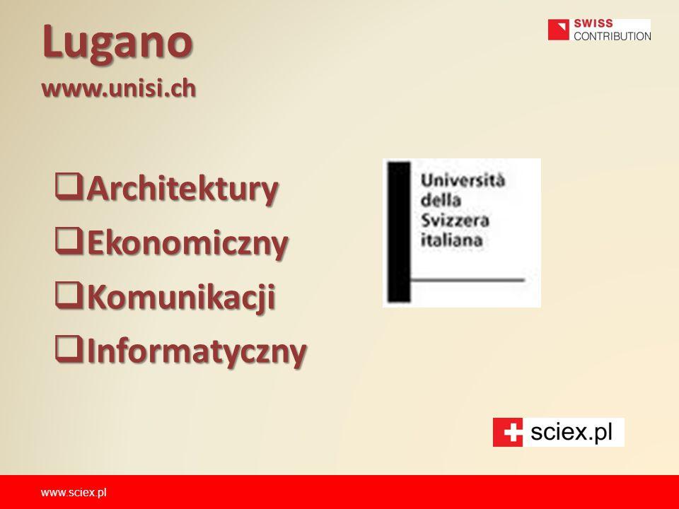 Lugano www.unisi.ch Architektury Ekonomiczny Komunikacji Informatyczny