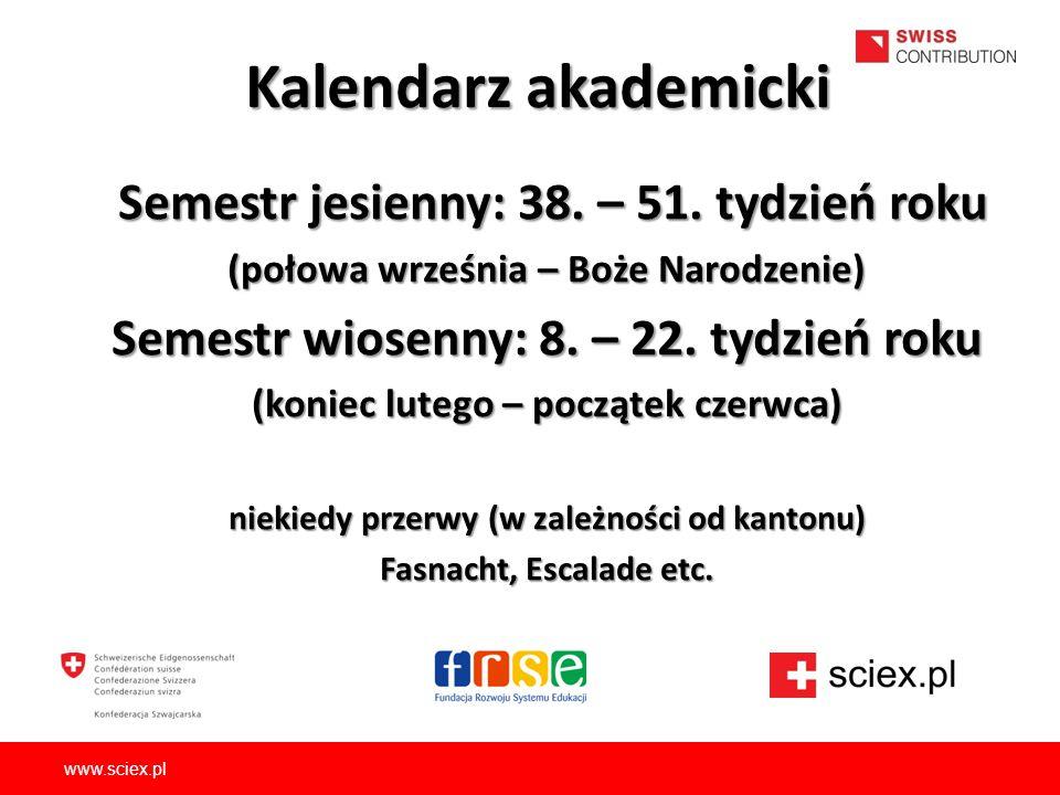 Kalendarz akademicki Semestr jesienny: 38. – 51. tydzień roku