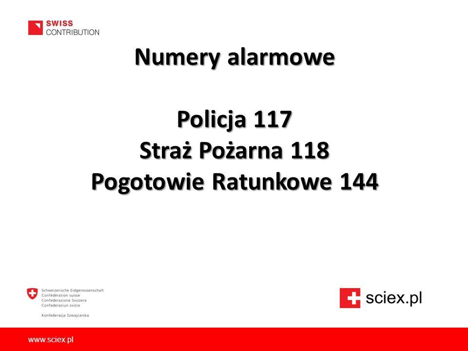 Numery alarmowe Policja 117 Straż Pożarna 118 Pogotowie Ratunkowe 144