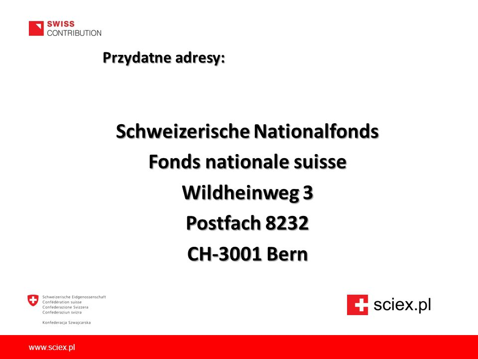 Schweizerische Nationalfonds Fonds nationale suisse