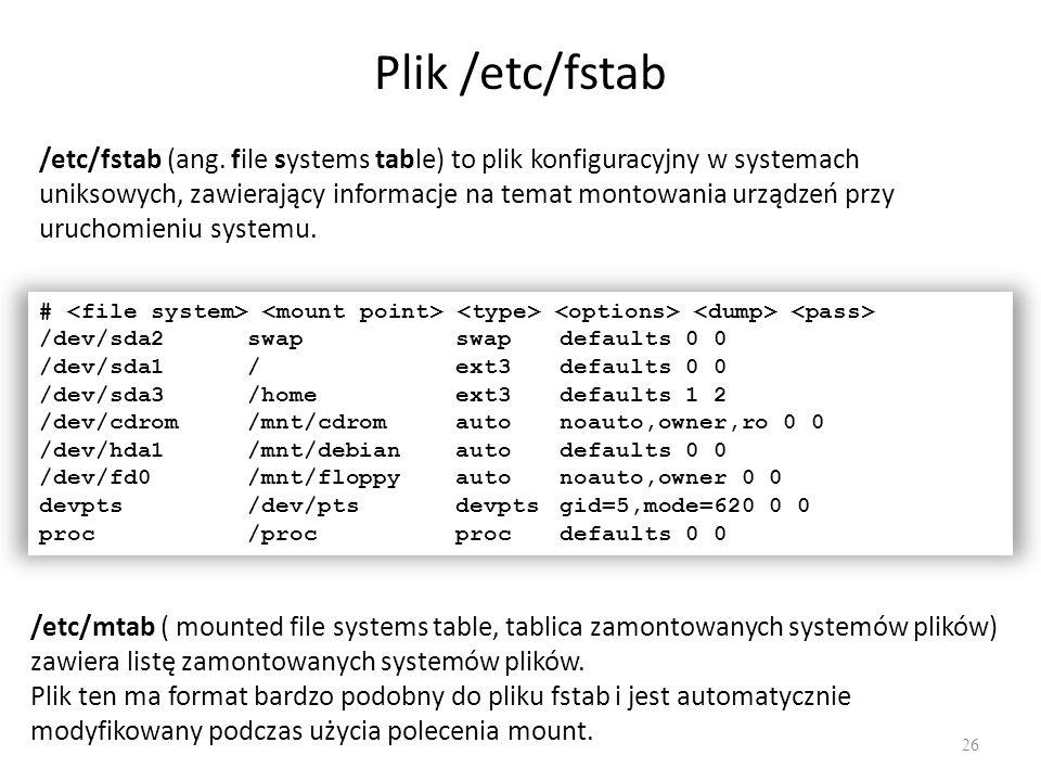 Plik /etc/fstab