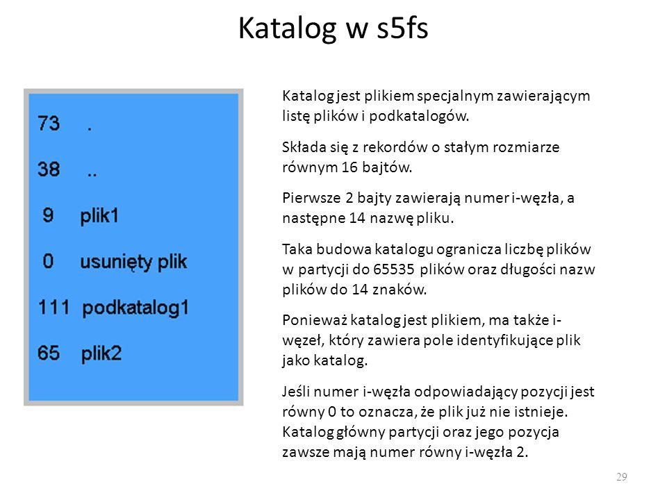 Katalog w s5fs Katalog jest plikiem specjalnym zawierającym listę plików i podkatalogów. Składa się z rekordów o stałym rozmiarze równym 16 bajtów.