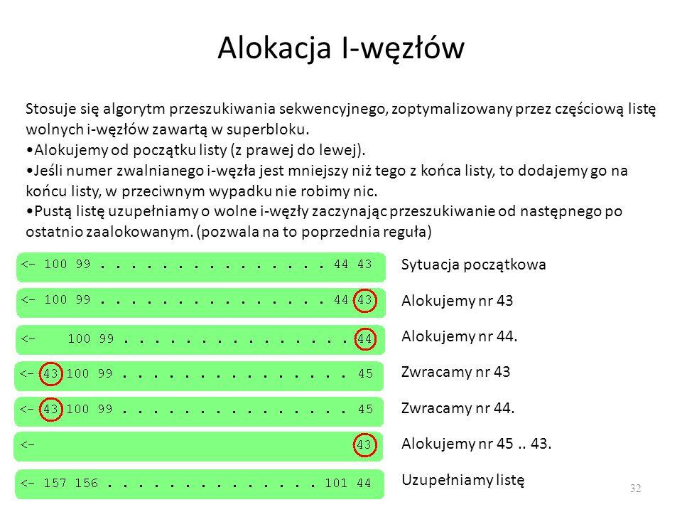 Alokacja I-węzłów Stosuje się algorytm przeszukiwania sekwencyjnego, zoptymalizowany przez częściową listę wolnych i-węzłów zawartą w superbloku.