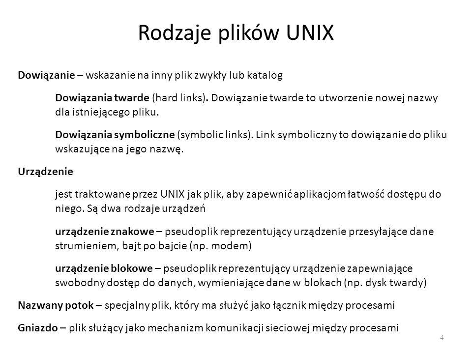 Rodzaje plików UNIX Dowiązanie – wskazanie na inny plik zwykły lub katalog.