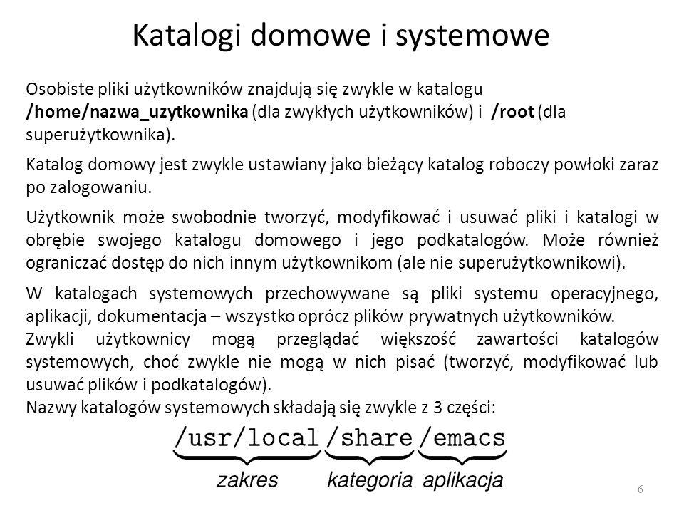 Katalogi domowe i systemowe