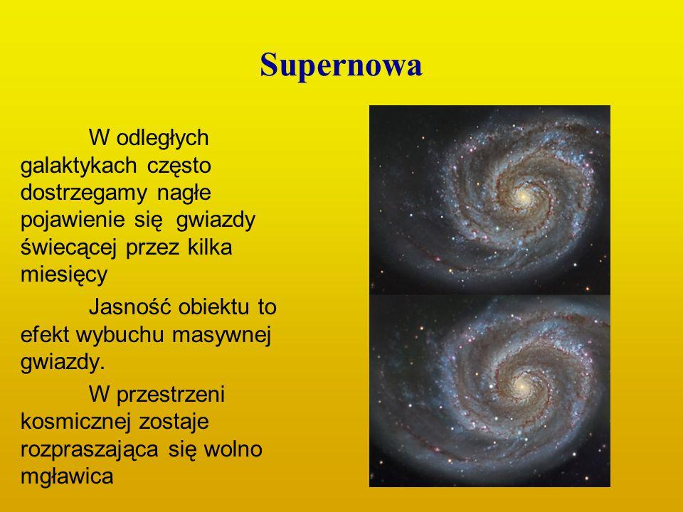 Supernowa W odległych galaktykach często dostrzegamy nagłe pojawienie się gwiazdy świecącej przez kilka miesięcy.