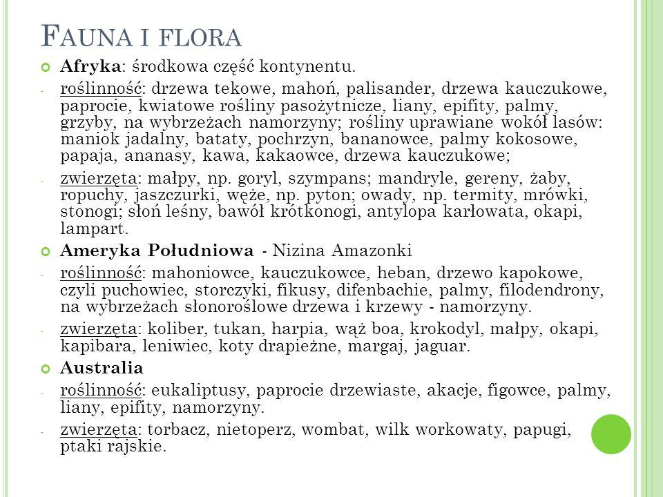 Fauna i flora Afryka: środkowa część kontynentu.