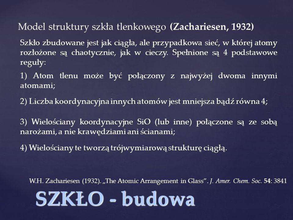SZKŁO - budowa Model struktury szkła tlenkowego (Zachariesen, 1932)
