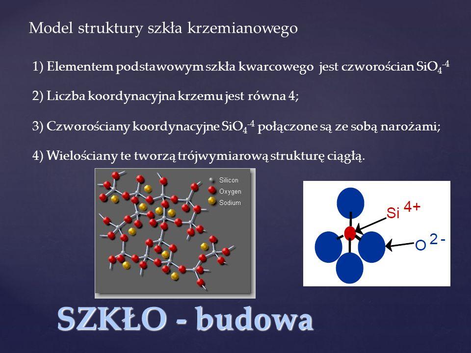 SZKŁO - budowa Model struktury szkła krzemianowego