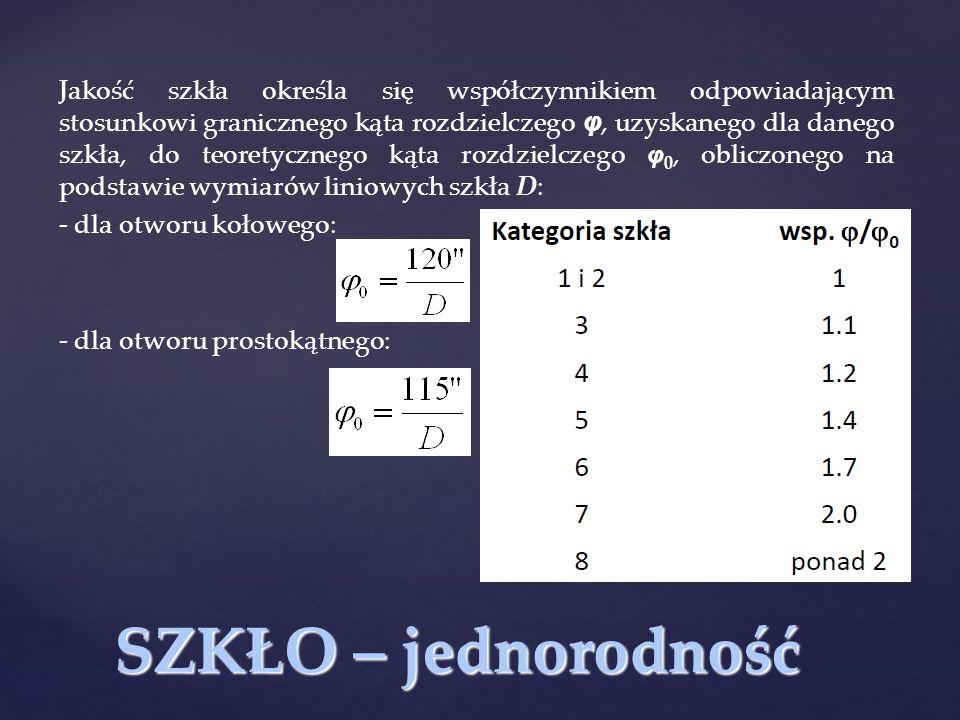 Jakość szkła określa się współczynnikiem odpowiadającym stosunkowi granicznego kąta rozdzielczego φ, uzyskanego dla danego szkła, do teoretycznego kąta rozdzielczego φ0, obliczonego na podstawie wymiarów liniowych szkła D: