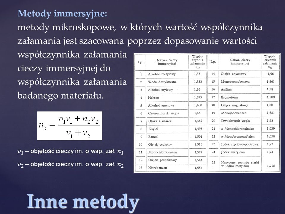 Inne metody Metody immersyjne: