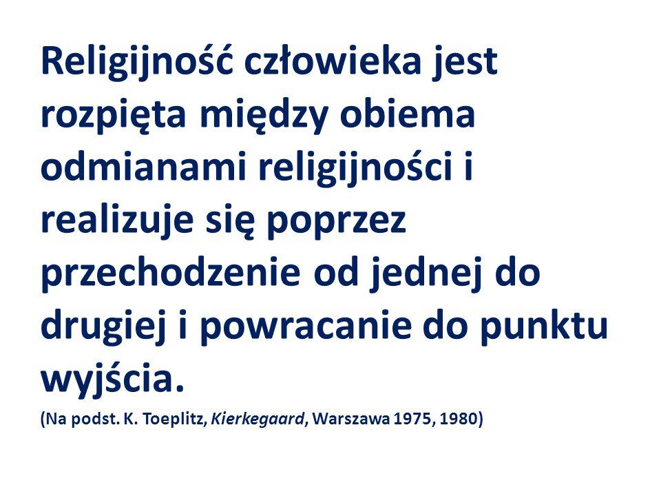 Religijność człowieka jest rozpięta między obiema odmianami religijności i realizuje się poprzez przechodzenie od jednej do drugiej i powracanie do punktu wyjścia.