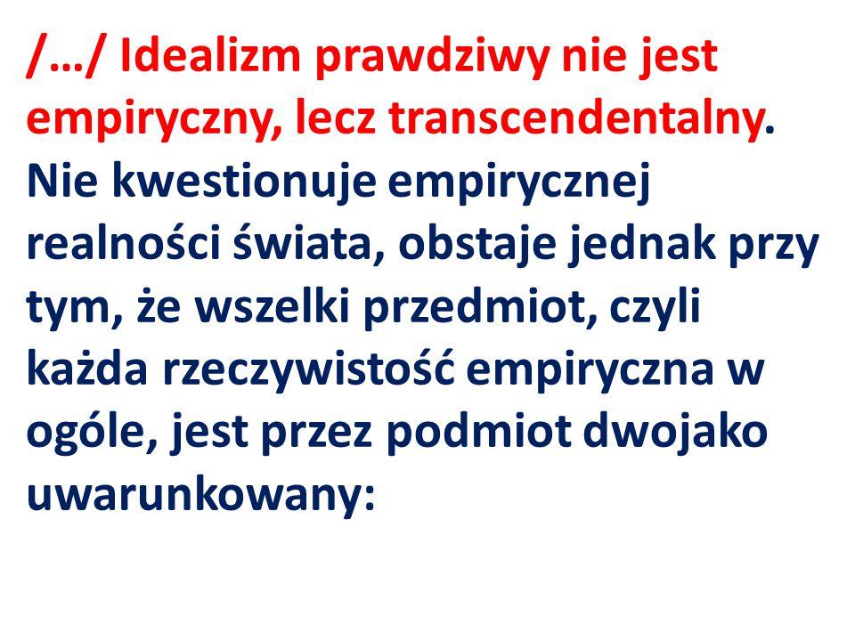 /…/ Idealizm prawdziwy nie jest empiryczny, lecz transcendentalny
