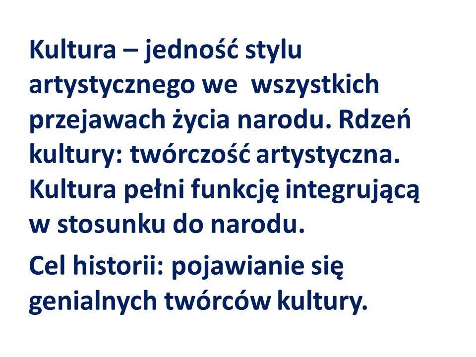 Kultura – jedność stylu artystycznego we wszystkich przejawach życia narodu.