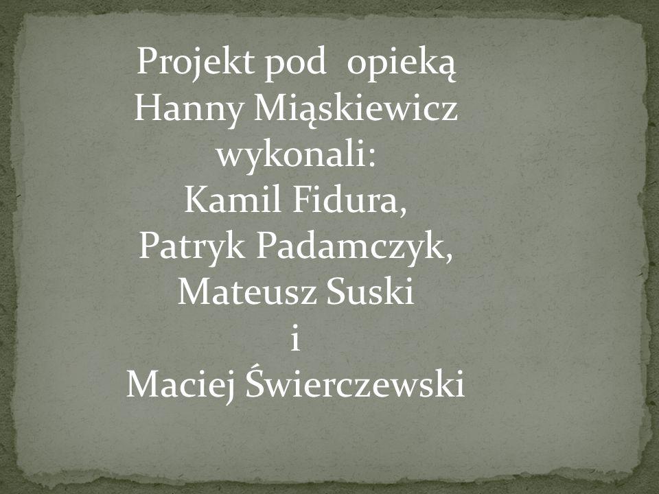 Projekt pod opieką Hanny Miąskiewicz wykonali: