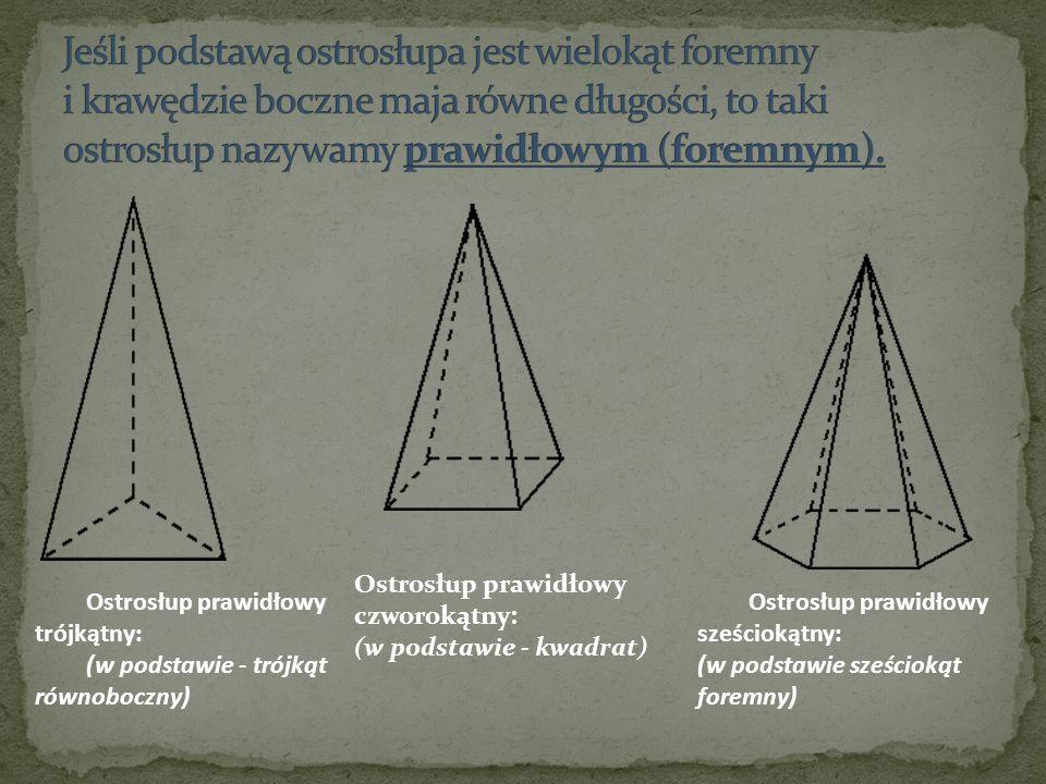 Jeśli podstawą ostrosłupa jest wielokąt foremny i krawędzie boczne maja równe długości, to taki ostrosłup nazywamy prawidłowym (foremnym).